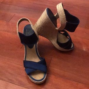 Nine West Royal blue platform wedge espadrille